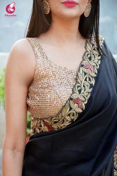 Buy Black Silk Dabka Zardozi Handwork Saree Online in India Saree Jacket Designs, Saree Blouse Neck Designs, Choli Designs, Fancy Blouse Designs, Sarees For Girls, Saree Floral, Saree Jackets, Stylish Blouse Design, Saree Trends