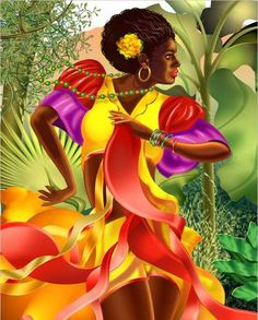 Afro-Latino woman dancing by Wendell Wiggins