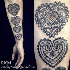 Lace heart tattoo by Riki-Kay Middleton. Five lace tattoo's done to represent all the members of her family, black and grey fine line work. Arm tattoos for women.