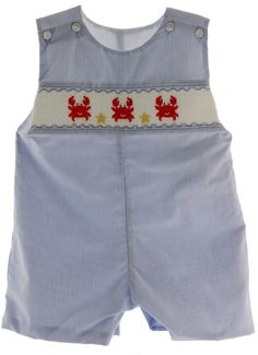Hiccups Childrens Boutique - Boys Smocked Crab John John Romper Outfit Petit Bebe, $50.00 (http://www.hiccupschildrensboutique.com/boys-smocked-crab-john-john-romper-outfit-petit-bebe/)