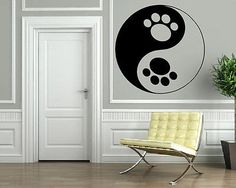 Funny Cool Yin & Yang Dog Paws Animal Decor Wall Mural Vinyl Art Sticker M397