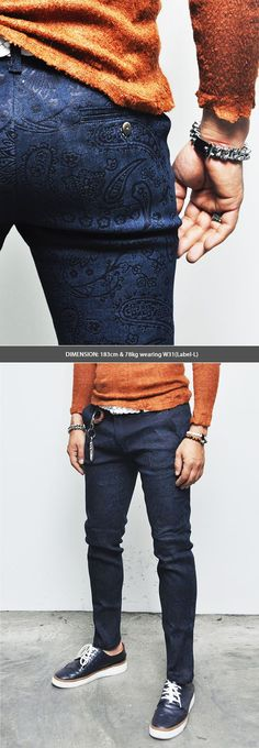 Bottoms :: Lux Coated Paisley Print Slim Urban Cotton-Pants 98 - Mens Fashion Clothing For An Attractive Guy Look