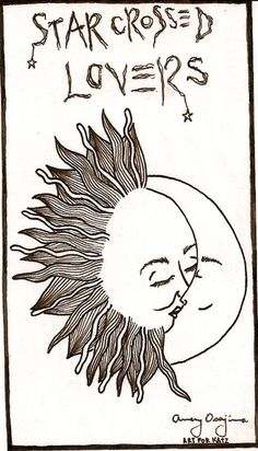 Nice simple drawing of the sun and moon as star crossed lovers.