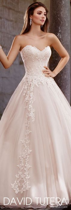 David Tutera for Mon Cheri Spring 2017 Collection - Style No. 117267 Topaz - strapless tulle and organza A-line wedding dress with lace appliqués #weddingdress