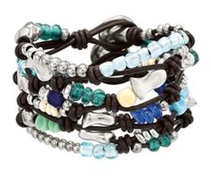 Leather Stranded Bracelet With Glass Beads from Uno de 50 at Valleygirl Boutique & Ruby Jane: Women's Clothing, Jewelry, Home Decor & Gifts