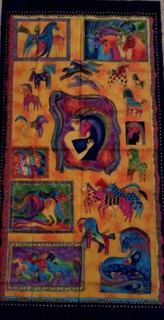 "Laurel Burch Mythical Horses Fabric Panel 23"" Long Bright Equine Wall Art Quilt #LaurelBurch"