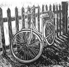 Linocut print of a bike against a fence.  I took a photograph of this bike in Hepburn Springs, Victoria, Australia. I really loved the light