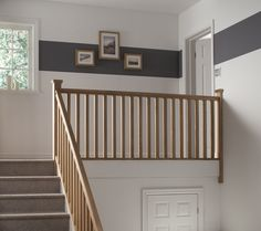 Give your stairs a stunning makeover with this stylish landing project kit. Comes complete with everything you need to transform a landing. Staircase Spindles, Timber Staircase, Wooden Staircases, Wooden Stairs, Banisters, Railings, Stairway Carpet, Carpet Stairs, Stair Builder
