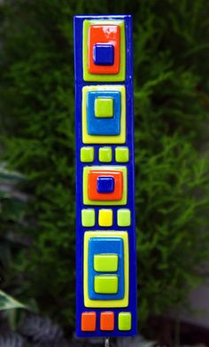 Home Decor - Garden Art - Blue, Lime Green, Yellow, Orange Fused Glass Art Stake - Outdoor Decor