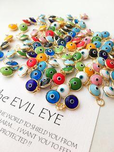 Gold Evil eye charm, 25 pcs, Evil eye beads for connectors, evil eye connectors,. White Beads, Blue Beads, Turquoise Beads, Evil Eye Jewelry, Evil Eye Necklace, Evil Eye Ring, Diy Jewelry Supplies, Evil Eye Pendant, Evil Eye Charm