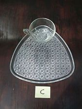 1 Indiana Glass Daisy & Button Pattern Triangle Shape Snack Plate & Cup – C