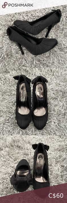 Le Château Black Stiletto Excellent Used Condition. Size: 5 Material is satin. Bow detailing at the back. Black Stilettos, Plus Fashion, Fashion Tips, Fashion Trends, Shoes Heels, Satin, Bows, Sandals, Collection