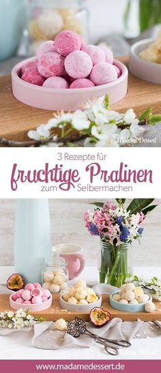 Sweet Summer - Fruity pralines to make your own- Süßer Sommer – Fruchtige Pralinen zum Selbermachen 3 delicious recipes for fruity to the… - Raspberry Truffle Recipe, Sweets Recipes, Recipes Dinner, Pie Recipes, Confectionery, Christmas Desserts, Diy Food, Relleno, Summer Recipes