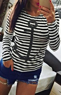 Stylish Round Neck Long Sleeve Striped Anchor Pattern Women's T-Shirt