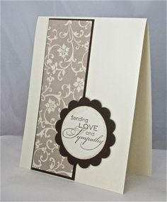 Condolence/sympathy card stamped blank espresso brown vanilla handmade. $5.00, via Etsy.