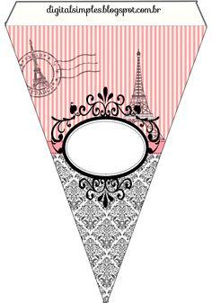 Convites Digitais Simples: Kit Personalizado Tema Festa Paris para Imprimir