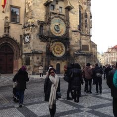 Prague's Astronomical Clock in Old Town Hall Square.  One of the most treasured spots in Prague and it's no brainer why! It was amazing to have witness a long going medieval tradition in this very spot. Every hour the 12 Apostles appear in procession and the visualization of time is no other. : Prague Czech Republic   12 January 2016   #prague #astronomicalclock #oldtown #oldtownsquare #EuroTravel2016 #czechrepublic #Europe #12Apostles #prague #oldtownsquare by valerieelouize…