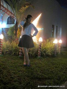 Vivy Duarte: Look do Dia: Saia de Bolinhas