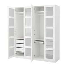 IKEA - PAX, Wardrobe, standard hinges, , 10-year Limited Warranty. Read about the terms in the Limited Warranty brochure.You can easily adapt this ready-made PAX/KOMPLEMENT combination to suit your needs and taste using the PAX planning tool.If you want to organize inside you can complement with interior organizers from the KOMPLEMENT series.Adjustable feet make it possible to compensate for any irregularities in the floor.