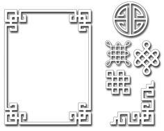 Frantic Stamper Precision Die - Oriental Frame and Motifs