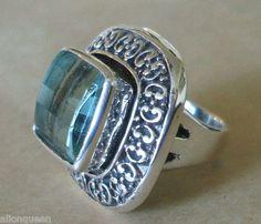 Taxco Mexican Artisan MARIA ELENA MUNOZ Sterling Silver & Aqua Crystal Ring Sz 8 | eBay