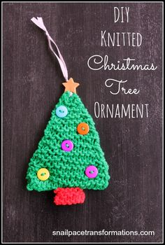 Knitted Christmas Tree Tutorial: Using just the garter stitch this knitted Christmas tree ornament takes an evening to make and would make a great gift.