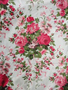 Vintage WAVERLY Rose Floral Fabric