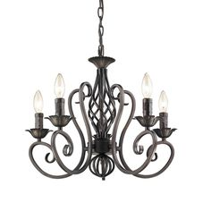 Antique Candelabra Chandeliers Wrought Iron 5-lights candle lighting Black ceiling candle light fixture(bulb not included) Perfect ambience for dining room, living room, kitchen and foyer Item Weight:...