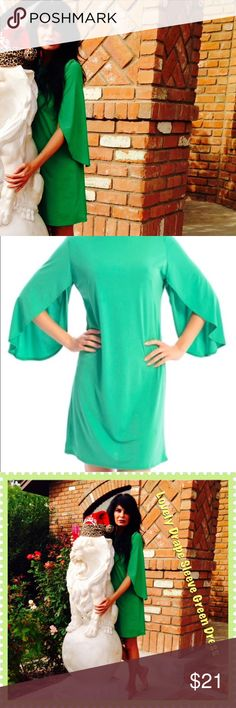 Drape Sleeve Shift Dress Shift change yourself into the Incredible Hulk yet look sensational.  It's casual or it's not.  Pair with accessories to define the look.  The simplicity is darling by itself, even without shoes! Easy, green, slip on shift dress.  The cut out three quarter length sleeves dangle.  A dress that is not too tight not yet not to loose. Worn for a modeling shoot. Zac Studio Dresses
