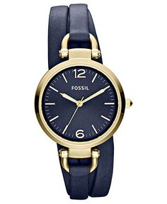Fossil Watch, Women's Georgia Navy Triple Wrap Leather Strap 32mm ES3158 - Fossil - Jewelry & Watches - Macy's