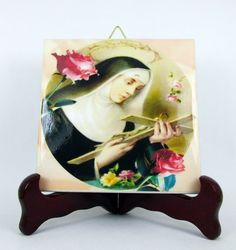 St Rita of Cascia #Catholic #icon on ceramic tile - https://www.etsy.com/it/listing/178345482/religious-gift-saint-rita-of-cascia