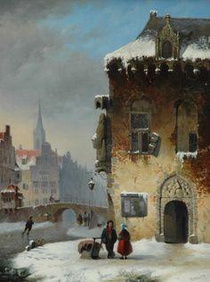 Petrus Gerardus Vertin - Winters stadsgezicht met wandelaars en schaatsers (1838)