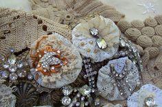 Beautiful lace yo yo's by Liz Bugh of Gypsy feather etsy shop