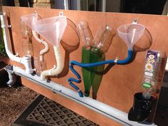 would be a great way to incorporate math and measurement outdoors by adding measuring cups to use to dump the water or sand through these tubes Eyfs Outdoor Area, Outdoor Play, Outdoor Games, Toddler Activities, Outdoor Activities, Preschool Ideas, Summer Activities, Family Activities, Outdoor School