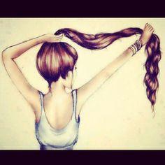 Beautiful long brown hair.