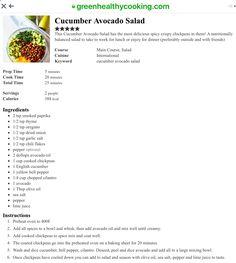 Cucumber Avocado Salad, Tomato Salad, Crispy Chickpeas, Spicy, Dinner, Salads, Blog, Kitchens, Deutsch