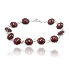 "Unisex Trendy 10mm Bead Deep Red burgundy 7"" Bracelet Solid 925 Sterling Silver Round Evil Eye Deep Red Evil Eye Jewelry Gift"