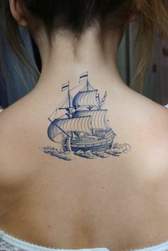 Vintage ship in Dutch 'Delfts Blauw' style temporary by Tattoorary, $8.00 I want it.