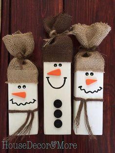 Set of 3 Wooden Snowmen/Wood Snowman/Rustic Snowman Decor/Rustic Christmas Decor/Wooden Snowman Set/Winter Snowman set/Holiday Decor. #affiliate