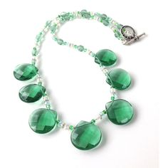 Teardrop Statement Necklace, Green Beaded Bib Necklace Earrings,... ($40) ❤ liked on Polyvore featuring jewelry, necklaces, beaded statement necklace, colorful statement necklace, multi color statement necklace, multi colored bead necklace and teardrop necklace