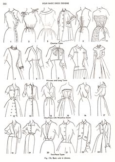 "For those who adore vintage clothing for its thoughtful, whimsical details, this blogger's posted some great illustrations from a 1954 dressmaker's book. ""I'd wear that!"" http://HowToConsign.com suggests that you ask consignment, resale, thrift shopkeepers about any vintage items they have!"