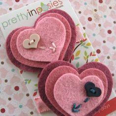 SALE Be My Valentine  Wool Felt Hearts Hair by PrettyinPosies, $8.00