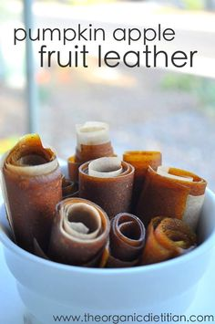 Pumpkin Apple Fruit Leather, 4 ingredients, no refined sugar, so easy, no dehydrator needed, www.theorganicdietitian.com (scheduled via http://www.tailwindapp.com?utm_source=pinterest&utm_medium=twpin&utm_content=post296395&utm_campaign=scheduler_attribution)