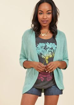 <p>You'll become a mixology whiz with this slouchy cardigan to layer over everything! Combining an open knit, cropped sleeves, and a sweet blue hue, this versatile sweater is consistently the clever outfit element that holds your ensemble together.</p>