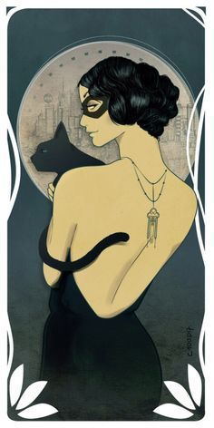 Gift Deco Comic - Catwoman Style Mucha Art Nouveau Geek Fanart Sensual Super Heroine by DC Comics Black Cat Mask Black Back Top Jewelry - Gift Deco Comic Catwoman Style Mucha Art Geek Posters Vintage, Retro Poster, Art Deco Posters, Vintage Art, Art Deco Artwork, Art Deco Paintings, Vintage Jewelry, Art And Illustration, Halloween Illustration