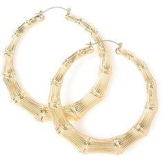 60MM Gold Bamboo Hoop Earrings ($35) ❤ liked on Polyvore featuring jewelry, earrings, accessories, snap button jewelry, chunky gold jewelry, yellow gold earrings, chunk snap jewelry and snap jewelry