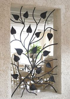 Stunning Wrought Iron Design Ideas That Are Truly Amazing - Genmice Window Pane Mirror, Window Bars, Wrought Iron Decor, Wrought Iron Gates, Iron Windows, Iron Doors, Porte Design, Door Design, Burglar Bars