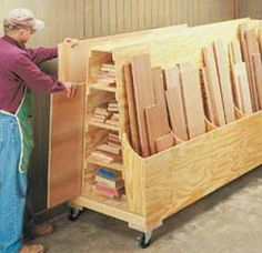 woodworking shop Roll around lumber cart plans - Workshop organization is an ongoing project so mobile and modular storage, wherever possible, will save you time down the road. Lumber Storage Rack, Plywood Storage, Lumber Rack, Tool Storage, Garage Storage, Storage Spaces, Storage Cart, 1 Plywood, Modular Storage
