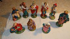 """8"""" VTG LOT 9 Large Nativity Figures Italy Wise Men Shepherd Musician Mary Joseph"""