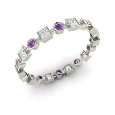 Round Amethyst Ring in 14k White Gold with VS Diamond